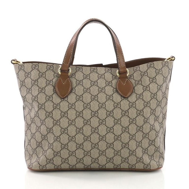 Gucci Convertible Soft Tote GG Coated Canvas Small In Good Condition For Sale In New York, NY