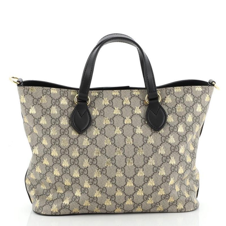 Gucci Convertible Soft Tote Printed Coated Canvas Medium In Good Condition For Sale In New York, NY