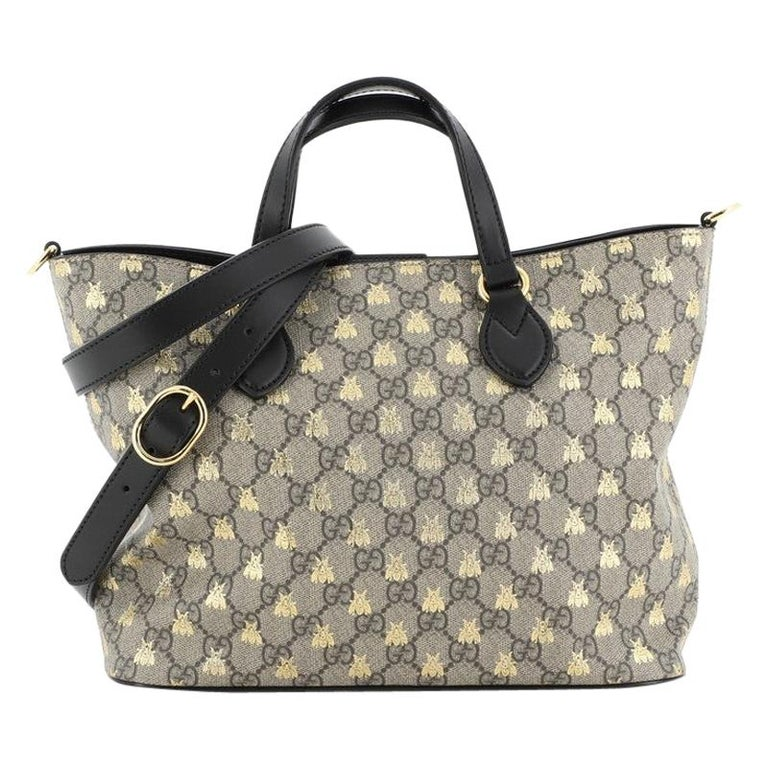 Gucci Convertible Soft Tote Printed Coated Canvas Medium For Sale