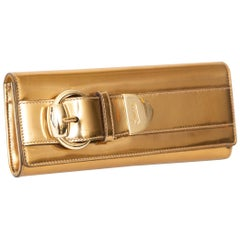 Gucci Copper Gold Leather Buckle Clutch Italian