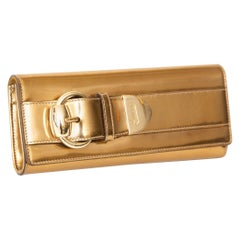 Gucci Copper Gold Leather Buckle Clutch Italian