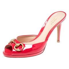 Gucci Coral Pink Patent Leather Peep Toe Horsebit Slides Size 36