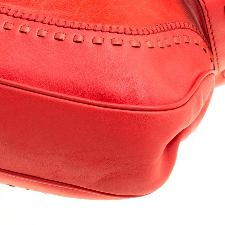 Gucci Coral Red Leather Large New Jackie Hobo For Sale 6