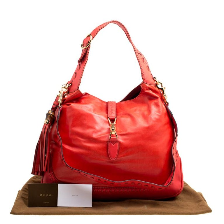 Gucci Coral Red Leather Large New Jackie Hobo For Sale 8
