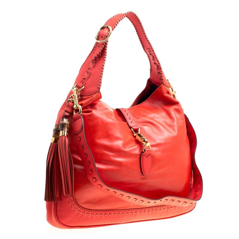 Women's Gucci Coral Red Leather Large New Jackie Hobo For Sale