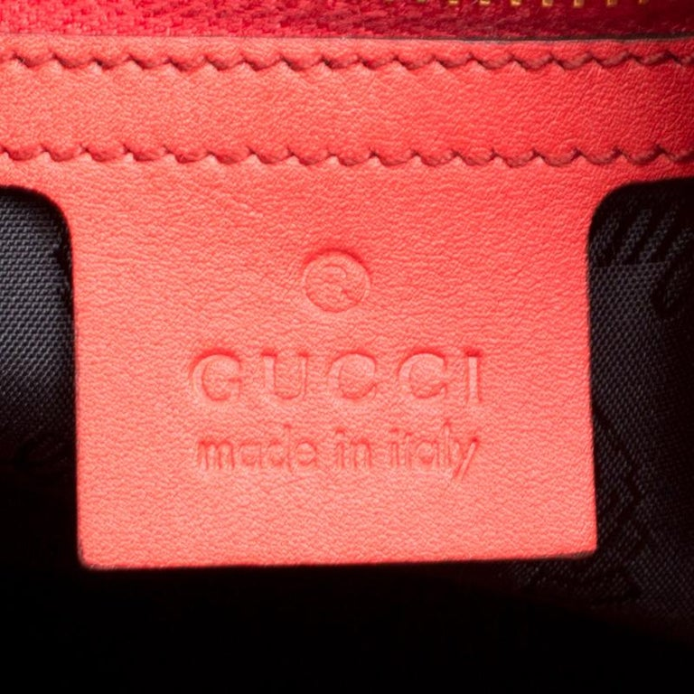 Gucci Coral Red Leather Large New Jackie Hobo For Sale 3