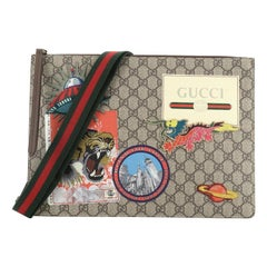 Gucci Courrier Messenger Bag GG Coated Canvas With Applique