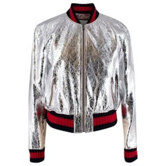 Gucci Crackle Silver Leather Bomber Jacket - Size US 10