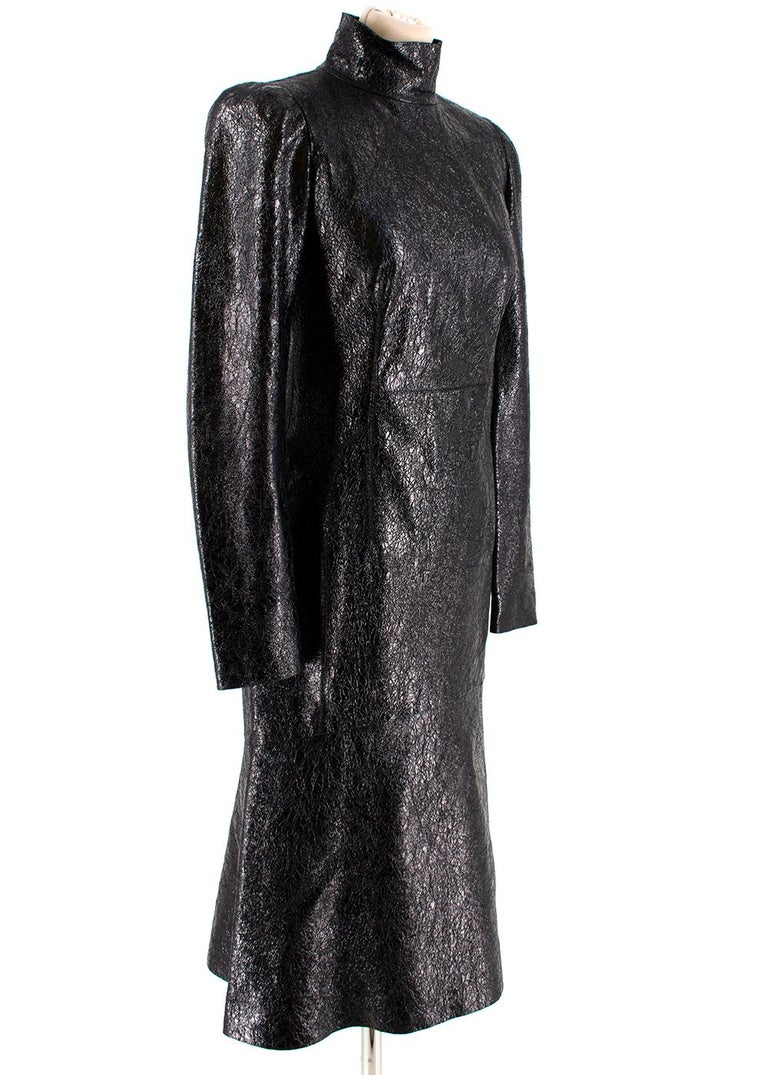 Black Gucci Crackled Patent Leather High Neck Dress - Size US 4 For Sale