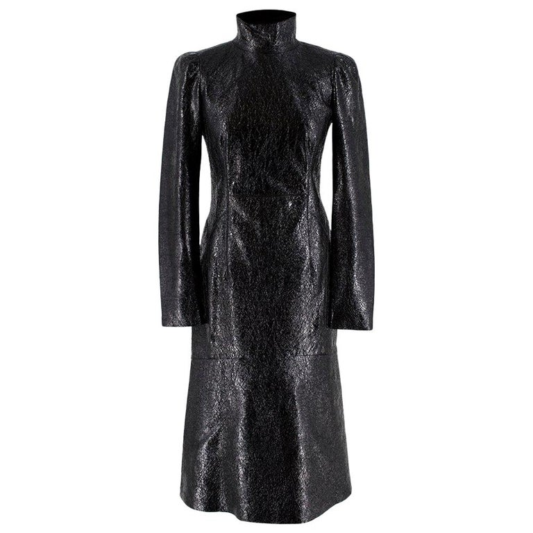 Gucci Crackled Patent Leather High Neck Dress - Size US 4 For Sale