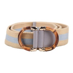 GUCCI Cream & Light Blue Canvas WEB BELT w/ BAMBOO D Buckle Sz 85/34