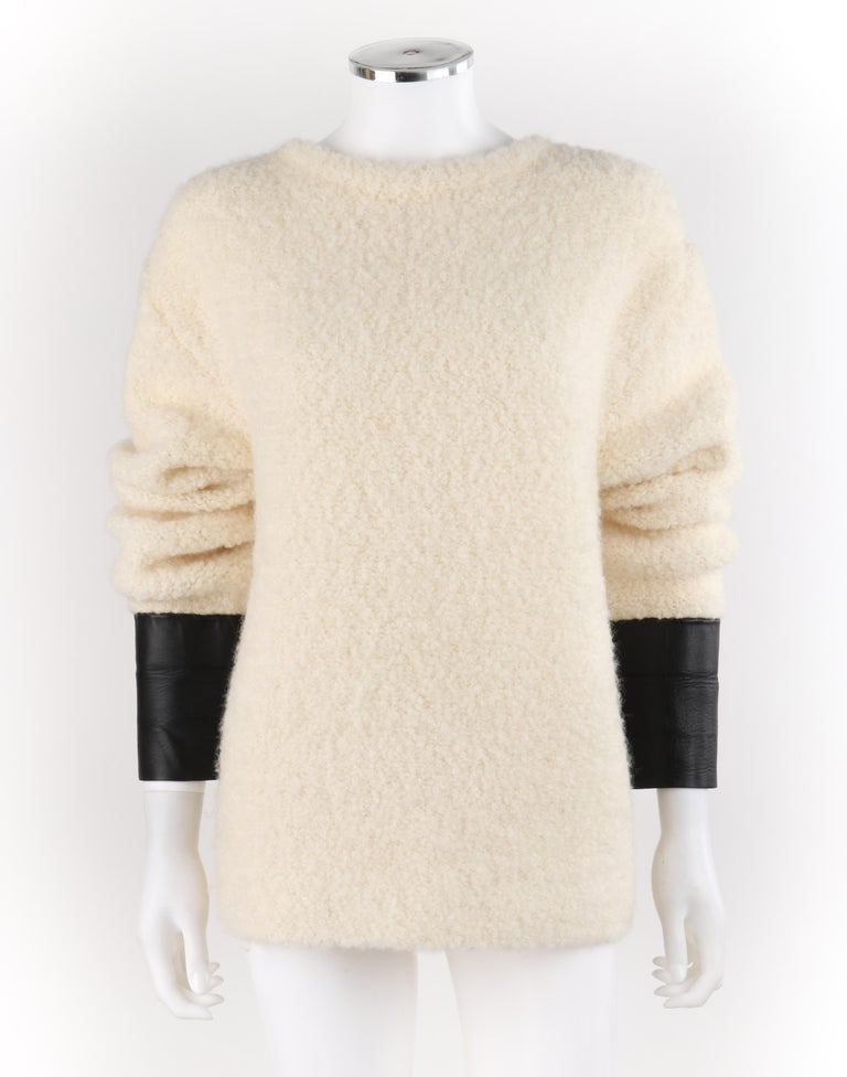 Beige GUCCI Cream Boucle Alpaca Wool Knit Leather Cuffs Oversize Pullover Sweater For Sale
