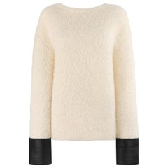 GUCCI Cream Boucle Alpaca Wool Knit Leather Cuffs Oversize Pullover Sweater