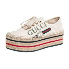 Gucci Cream Canvas Logo Platform Espadrilles Size 37
