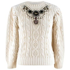 Gucci Cream Embroidered Wool Cable Knit Sweater XXS / US 0-2