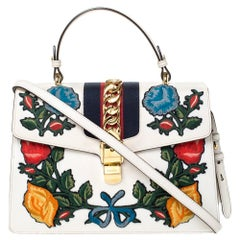 Gucci Cream Floral Embroidered Leather Medium Sylvie Top Handle Bag