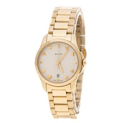 Gucci Cream Gold Plated Stainless Steel G-Timelss 126.5 Women's Wristwatch 27 mm