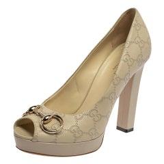 Gucci Cream Guccissima Leather Horsebit Peep Toe Platform Pumps Size 38