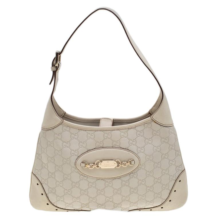 Gucci Cream Guccissima Leather Medium Jackie Hobo Bag For Sale