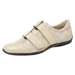 Gucci Cream Guccissima Leather Velcro Sneakers Size 36