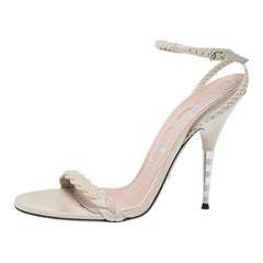 Gucci Cream Leather Braided Ankle Wrap Sandals Size 40