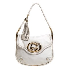 Gucci Cream Leather Medium Britt Tassel Hobo