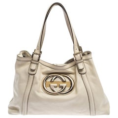 Gucci Cream Leather Medium GG Britt Tote