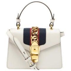 Gucci Cream Leather Mini Web Sylvie Shoulder Bag
