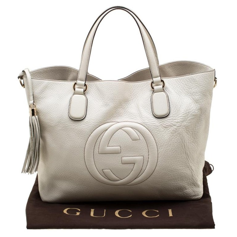 Gucci Cream Leather Soho Working Tote 6