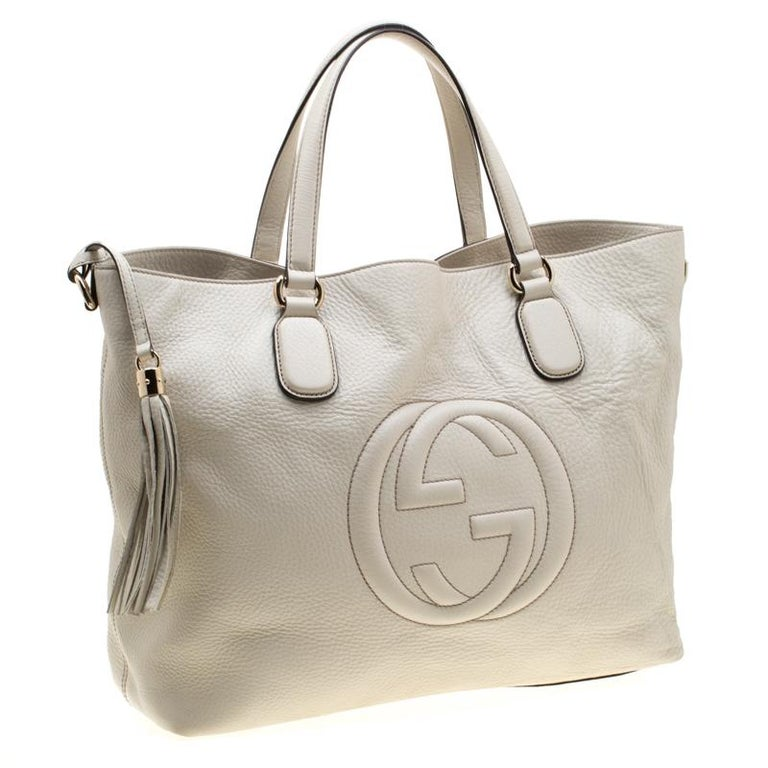 Gucci Cream Leather Soho Working Tote In Good Condition In Dubai, Al Qouz 2
