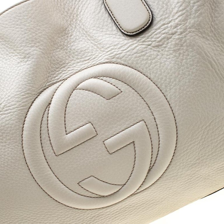 Gucci Cream Leather Soho Working Tote 2