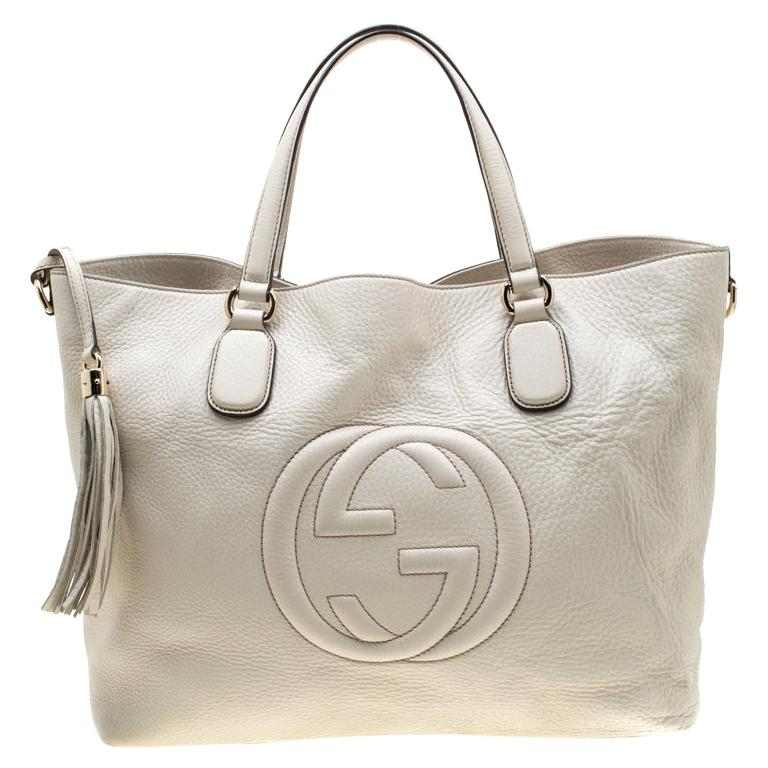 Gucci Cream Leather Soho Working Tote