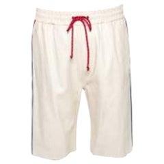 Gucci Cream Leather Stripe Detail Drawstring Waist Shorts M
