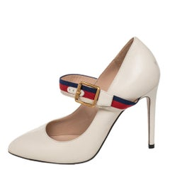 Gucci Cream Leather Sylvie Mary Jane Pumps Size 36