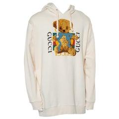 Gucci Cream Logo Printed Cotton Applique Detail Oversized Hoodie XL