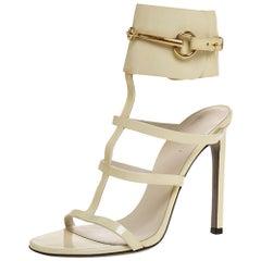Gucci Cream Patent Ursula Horsebit Gladiator Sandals Size 37