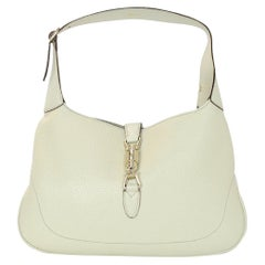 Gucci Cream Pebbled Leather Jackie O Bouvier Hobo Bag W/ DB