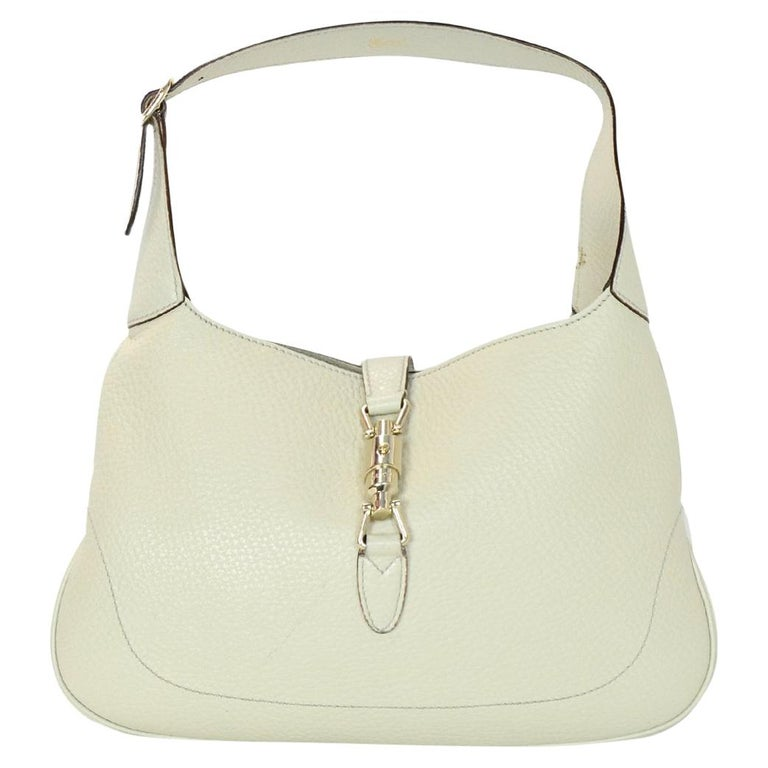 cdb718a5921 Gucci Cream Pebbled Leather Jackie O Bouvier Hobo Bag W  DB For Sale ...