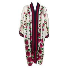 Gucci Cream & Pink Rose Garden Print Silk Belted Kimono M