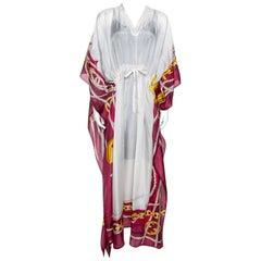 Gucci Cream Sheer Silk Equestrian Print Kaftan Dress ( One Size )
