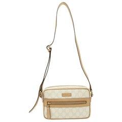 Gucci Cream & Tan Monogram Crossbody Bag