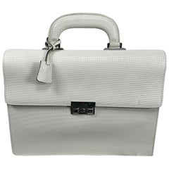 Gucci Cream Textured Leather Black Trim Briefcase with Silver Metal Hardware