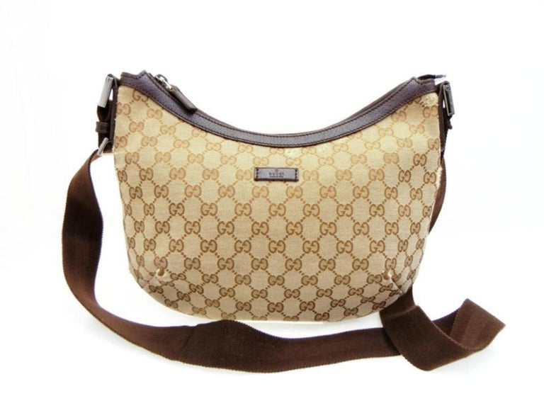 cd495fa49d2341 Gucci Crescent Half Moon Monogram Gg Hobo Messenger 231938 Brown Cross Body  Bag For Sale 5