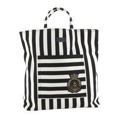 Gucci Crest Tote Striped Canvas Tall