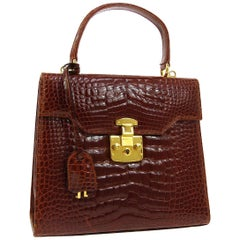 Gucci Crocodile Exotic Leather Gold Top Handle Satchel Kelly Style Shoulder Bag