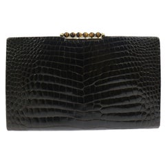 Gucci Crocodile Exotic Skin Leather Gold Tiger Eye Evening Envelope Clutch Bag