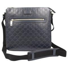 Gucci crossbody bag / satchel in dark blue leather