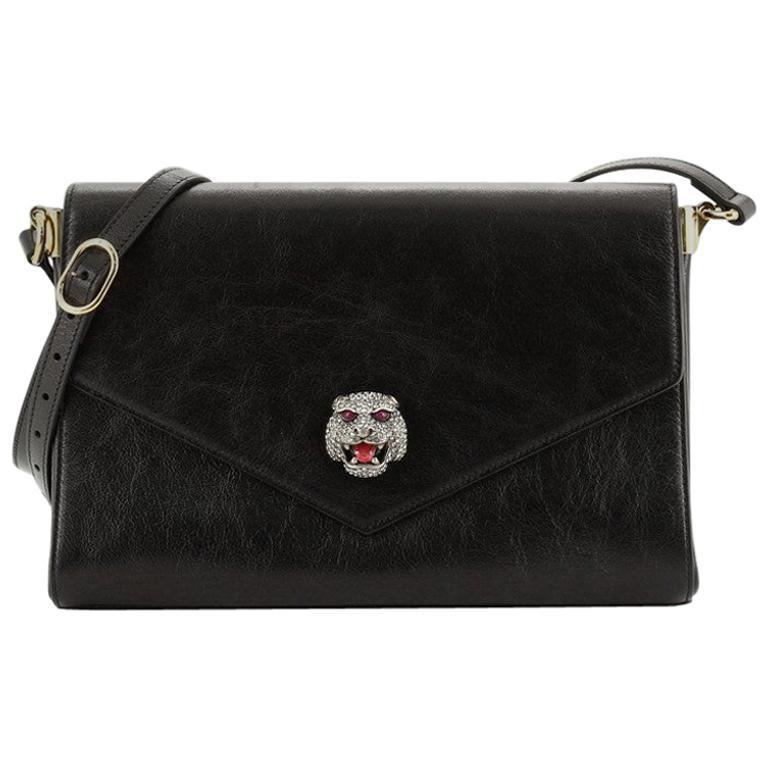 Gucci Crystal Animalier Shoulder Bag Leather Medium For Sale