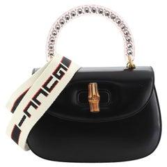 Gucci Crystal Bamboo Top Handle Bag Leather Medium