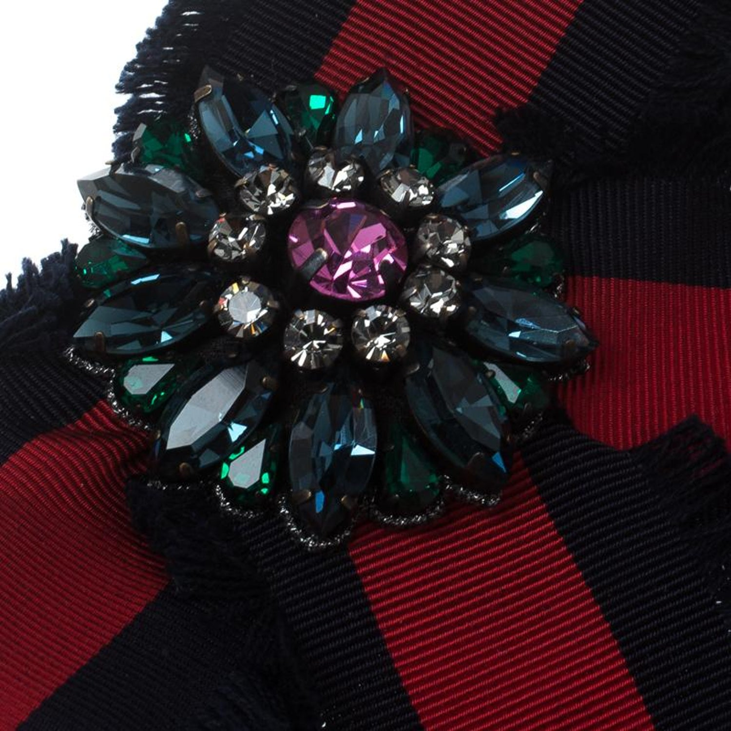 2dda5011ebe Gucci Crystal Blue and Red Web Grosgrain Frayed Bow Brooch at 1stdibs